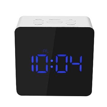 Decdeal - Led Espejo Reloj Digital con Termómetro de Interior, 12h/24h Alarma y Snooze: Amazon.es: Hogar