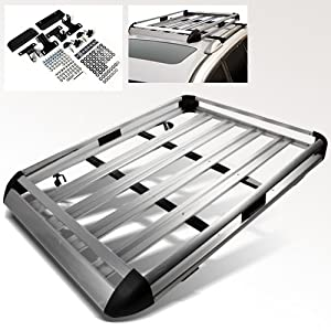 "Modifystreet 50"" x 38"" Silver Aluminum Roof Top Luggage Holder/Cargo Carrier Basket"