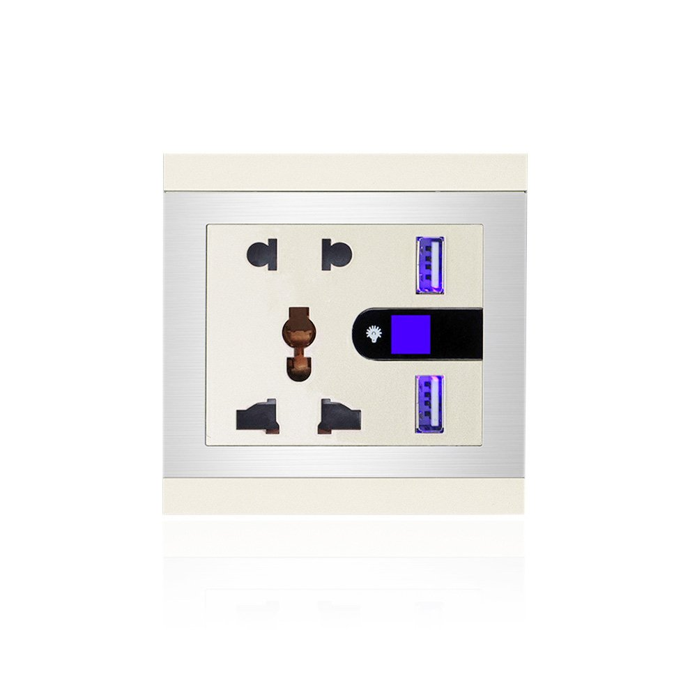 Dual USB Charger Wall Socket, JVR 2-Outlet Charger Receptacle Plate with 2 USB Ports 2.1A Output & Touch Switch LED Night Light, Golden Panel