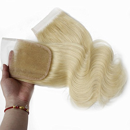 Forawme 613 Blonde Brazilian Body Wave Closure Human Hair 4X4 14 Inch 100% Remy Hair Bleached Knots Pre Plucked Lace Closure Hair Pieces