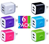 Certified Dual 2.1A 2-Port Easy Grip USB Power Adapter Wall Block Cube Charger (HOLIDAY SPECIAL) for iPhone X 8 iPhone 7 6/6S Plus, 5S, iPad Pro, Galaxy S7, S6 Edge Plus, S5, Nexus, HTC & More(6-Pack)