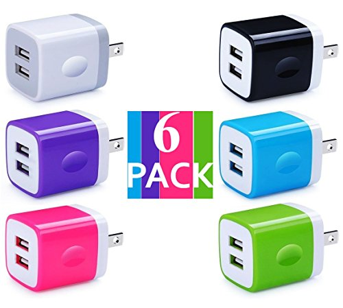 Certified Dual 2.1A 2-Port Easy Grip USB Power Adapter Wall Block Cube Charger (HOLIDAY SPECIAL) for iPhone X 8 iPhone 7 6/6S Plus, 5S, iPad Pro, Galaxy S7, S6 Edge Plus, S5, Nexus, HTC & More(6-Pack) by Power Boost