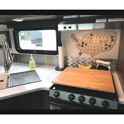 Rv Cutting Board Stove Cover Oak Wood Gloss Finish Range Surface Kitchen Counter Top Space Saver Oven Decorative & e Book By JEFSHOP (Camco Stove Top Cutting Board)