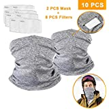 2 Pack Cycling Face mask with 8 pcs PM2.5 Filters, Face Motorcycle Masks Cycling Scarf with UV Dust Protection Face Cover Breathable Elastic Neck Gaiter