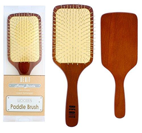 Wooden Paddle Hair Brush with Metal Bristle Detangler Anti S