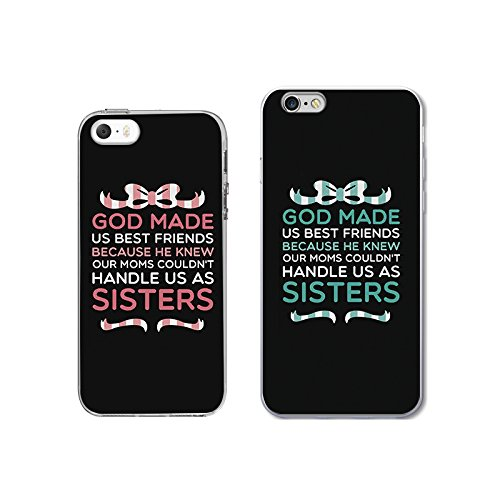uk availability 0e1b0 70799 iPhone 5 5S SE+6/6S Couple Case for Best Friend-TTOTT Floral God made us  Best friend BFF Ultra-Slim Bumper Protective Back Case for iPhone [Left for  ...