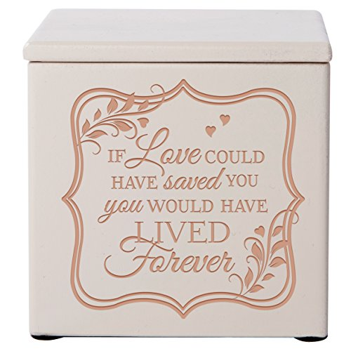 Cremation Urns for Human ashes - SMALL Funeral Urn Keepsake box for Pets - Memorial Gift for home or Columbarium If Love could have save you would have lived for- Holds SMALL portion of ashes (Ivory)