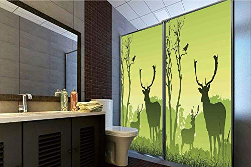 (Horrisophie dodo 3D Privacy Window Film No Glue,Antlers Decor,Male Deer on a Meadow with Trees and Crow Bird Woodland Mist Rural Green Country,47.24