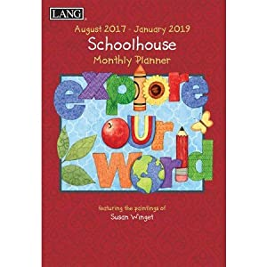 "LANG - 2018 Monthly Planner - ""Schoolhouse"" , Artwork By Susan Winget - 13-Month: January 2018 - January 2019 - 8.5"" x 12"""