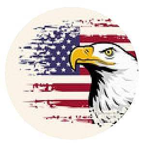alfombrilla de ratón águila americana contra el fondo de la bandera EE.UU. - ronda - 20cm