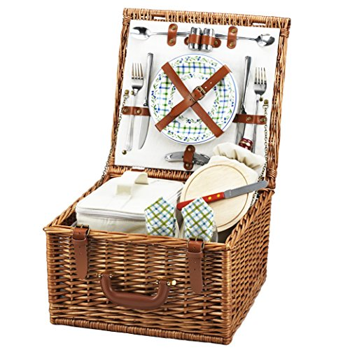 Style English Basket - Picnic at Ascot Cheshire English-Style Willow Picnic Basket with Service for 2  - Gazebo