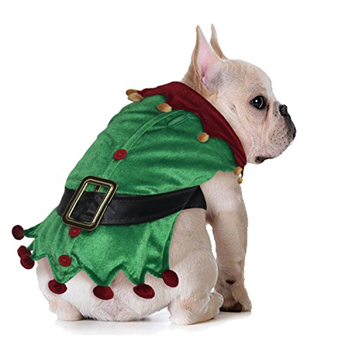 Collar Pet Dog Christmas Ribbon (New Traditions Santa's Little Helper Elf Pet Costume- Green with Belt and red with Cotton Jingle Bells (XSmall))