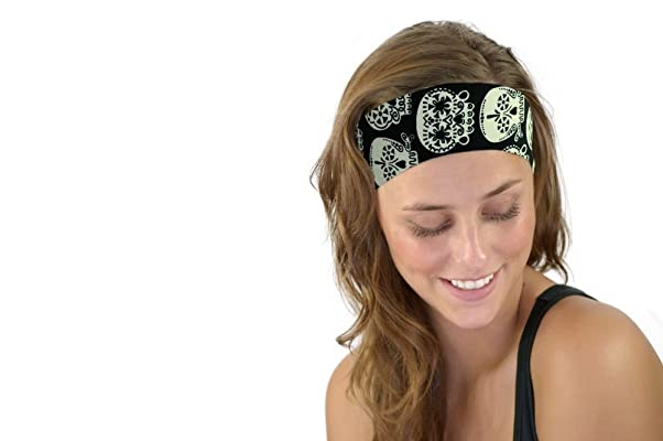 Fun Glow in the Dark Sugar Skulls Soft Cloth Headband Day of Dead Headwrap