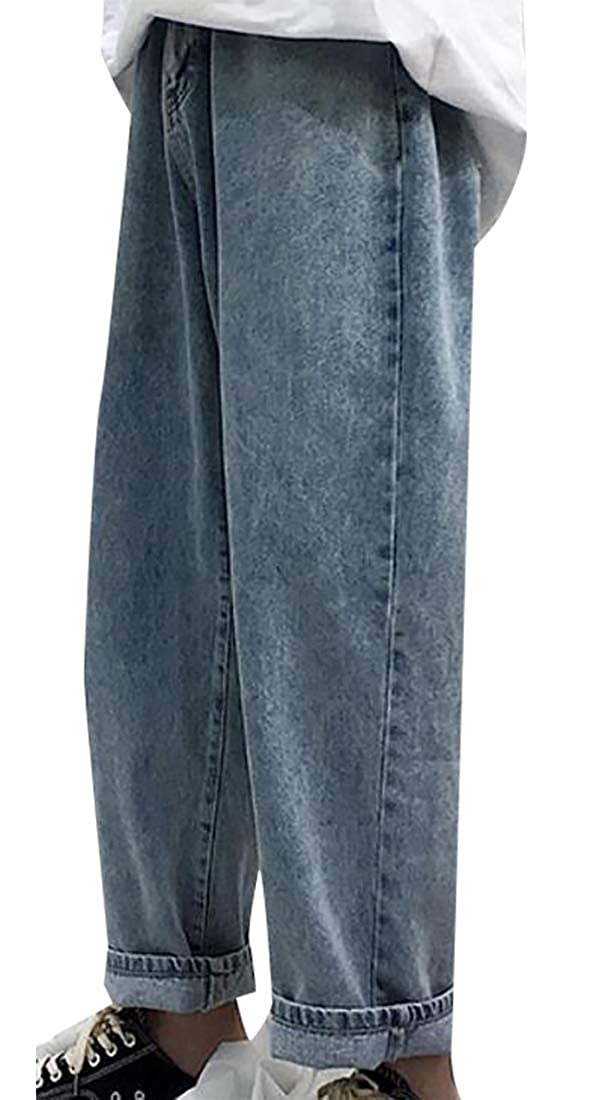 CBTLVSN Mens Straight Hipster Jeans Baggy Biker Ankle-Length Denim Pants