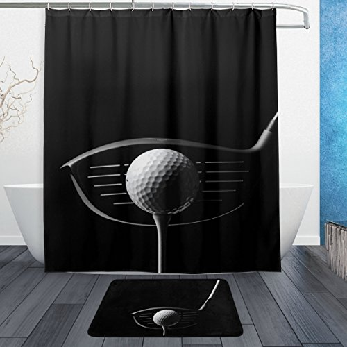 Golf Style Polyester Foam - DEYYA Creative Design Golf Fitness Waterproof Polyester Shower Curtain Set, Bathroom Shower Curtain 60 x 72 inch with Doormat Rug 23.6 x 15.7 inch,12 Hooks Included