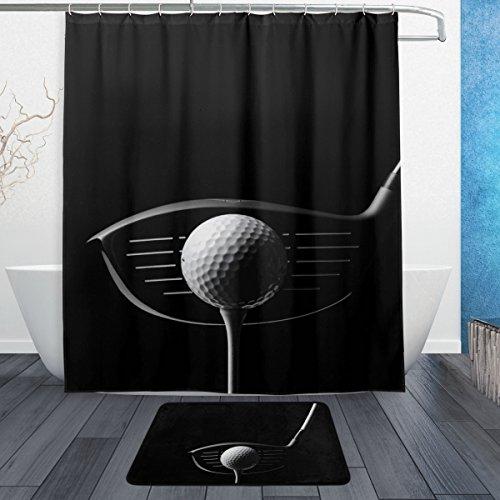 DEYYA Creative Design Golf Fitness Waterproof Polyester Shower Curtain Set, Bathroom Shower Curtain 60 x 72 inch with Doormat Rug 23.6 x 15.7 inch,12 Hooks Included
