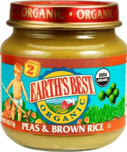 Earth's Best Organic Stage 2, Peas & Brown Rice, 4 Ounce (Pack of 12)