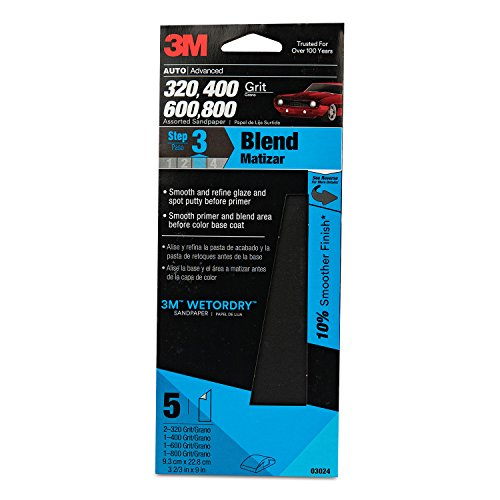 "3M 03024 Imperial Wetordry 3-2/3"" x 9"" Sandpaper with Assorted Grit Sizes"