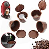 Nescafe Red Mug Coffee Machine NATTEL 4pcs Dolce Gusto Plsatic Refillable Coffee Capsule with Spoon Brush 200 Times Reusable Compatible Nescafe Dolce Gusto