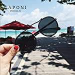 Caponi Vintage Round Steampunk Style Sunglasses Black 1762 7