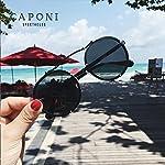 Caponi Vintage Round Steampunk Style Sunglasses Black 1762 7