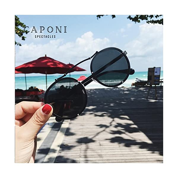 Caponi 2017 New Fashion Vintage Round Steampunk Style Sunglasses Black 1762 4
