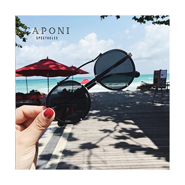 Caponi Vintage Round Steampunk Style Sunglasses Black 1762 4
