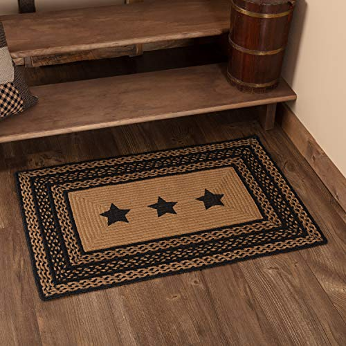 VHC Brands 9807 Classic Country Primitive Flooring-Farmhouse Jute Black Stenciled Stars Rug, 24 x 36, Starss