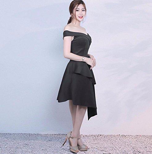 Largo Vestido WBXAZL Moda Corto de Vestido Noche Corto Corto Mujer Vestido Black w4at48q