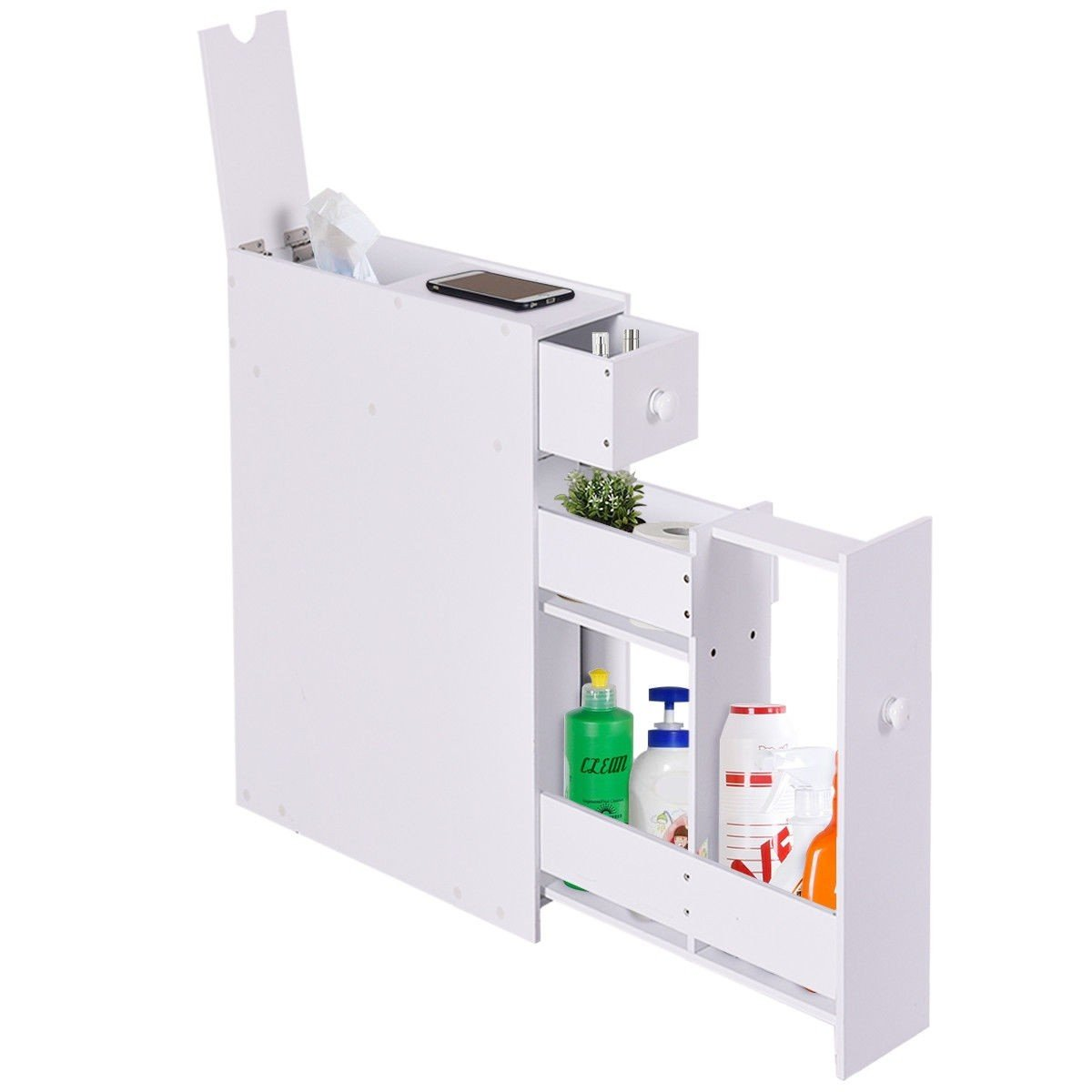 LordBee New White Bathroom Cabinet Space Saver Storage Organizer MDF Small Size Stylish Modern Nice Chic Decor Furniture Home Towels Shampoo Bottles by LordBee (Image #4)