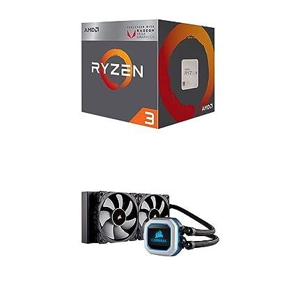 AMD Ryzen 3 2200G Processor with Radeon Vega 8 Graphics and CORSAIR HYDRO SERIES H100i PRO