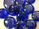 """TBC Colbalt Blue XL Decorative Gems: Table Scatters, Vase Filler. Beautiful Unique Colbalt Blue Stones NEW Size """"X-LARGE"""" 1"""" Diam. Clear 100% Flat Glass Gem Stones. Vase Filler, Use in Floral Arrangements, with Candles, Aquariums, Wet or Dry. Great for Eye Catching Centerpiece. Flat Marbles, Aprox 27 Stones per Bag (Silver Added to Blue During Mfg to Create Deep Colbalt Blue Color)"""
