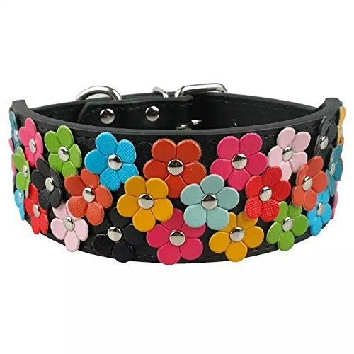(Berry Pet PU Leather Flower Dog Collars for Medium and Large Dogs 2