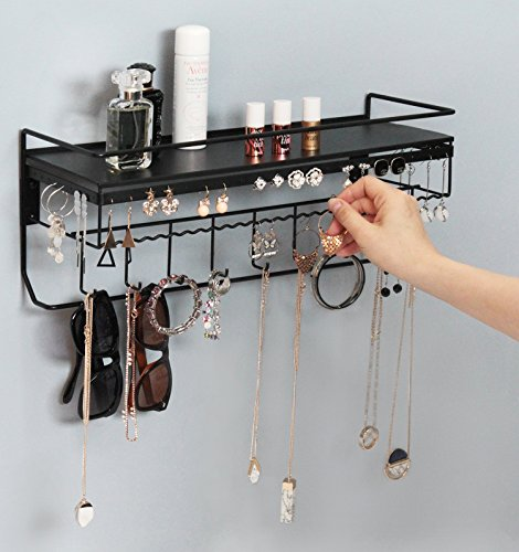 JackCubeDesign Wall Mounted classic Black Iron Designer made Cosmetics Storage Shelf w/ Necklace Jewelry Organizer Shelf Earrings Holder – :MK238A
