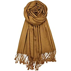Achillea Soft Silky Solid Pashmina Shawl Wrap Scarf for Wedding Bridesmaid Evening Dress … (Bronze)