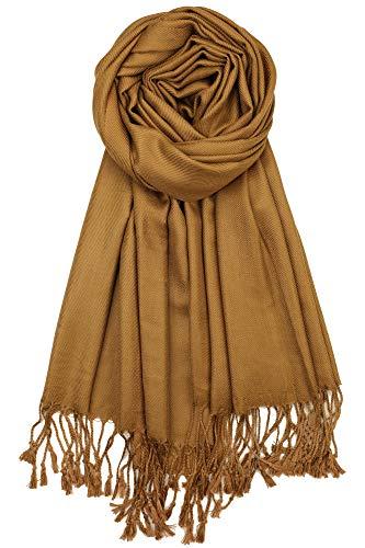 Achillea Soft Silky Solid Pashmina Shawl Wrap Scarf for Wedding Bridesmaid Evening Dress ... (Bronze)