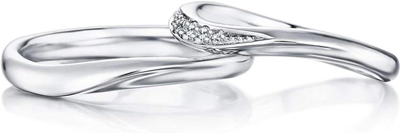 Epinki Anillo Oro Blanco 18k Retorcido Diamante 0.10ct Anillo de Promesa de Joyeria Regalo Navidad Aniversario Cumpleaño