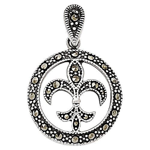 (.925 Sterling Silver Marcasite Fleur De Lis Pendant)