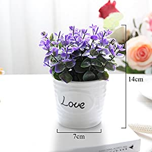 FYYDNZA Small Artificial Plants Decorative Flowers Mini Potted Kettle Bonsai Valentine'S Day Grass Handmade Gift 1 Set (Plants + Vase) 2