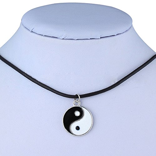 Pusheng Retro Charm Pendant Necklace Tibetan Silver Boho Black Rubber Cord Yin and Yang (Rubber Pendant Cord Necklace)