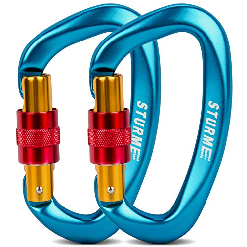 STURME Upgraded Heavy Duty Screwgate Locking Climbing Carabiner Clip, 25KN(5623lbs Each) Large Aluminum D Ring Hook for…
