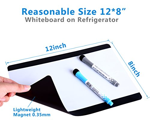 "MIGOHI Magnetic Dry Erase Board for Fridge, 12"" x 8"" Refrigerator Whiteboards for Writing Notes and Reminders, Flexible Magnet Board with Stain Resistant Technology"