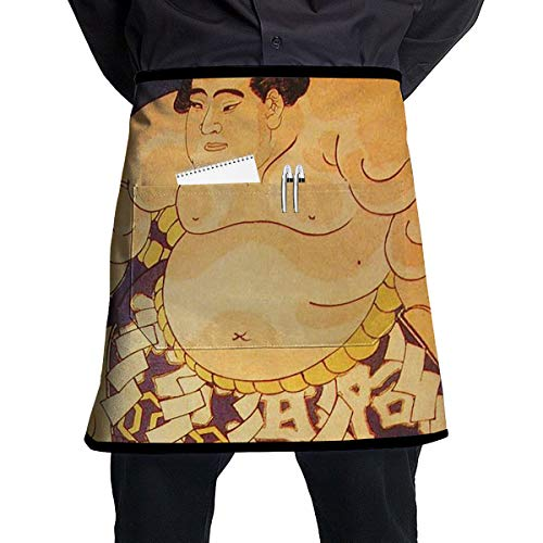 Kjiurhfyheuij Half Short Aprons Sumo Wrestler Design Waist Apron with Pockets Kitchen Restaurant for Women Men Server