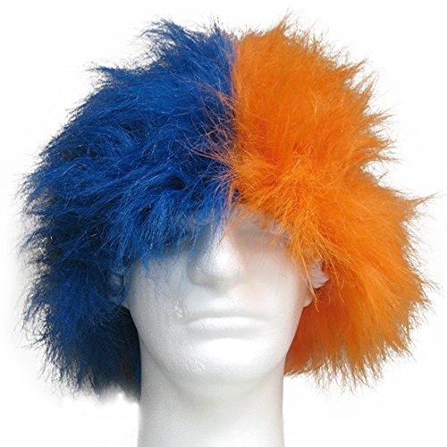 Sports Novelties Wig, Half Blue and Half - Blue Orange