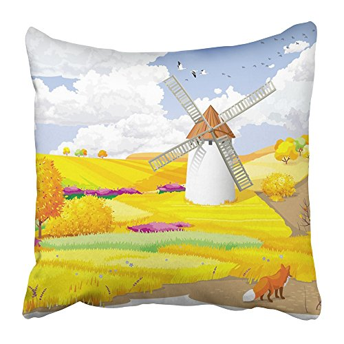 Covers Print Blue Agriculture Autumn Rural Landscape with Fields and Windmill Orange Birds Clouds Cloudscape Day 18 X 18 Inch Square Zipper Polyester Home Sofa Decorative Case ()