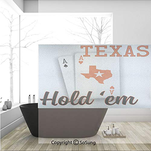 3D Decorative Privacy Window Films,Texas Holdem Theme Pair of Aces with Map Winning Hand Decorative,No-Glue Self Static Cling Glass Film for Home Bedroom Bathroom Kitchen Office 36x24 Inch
