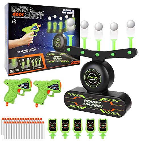 Kids Shooting Game Toy, Electric Floating Target Glow in The Dark, Nerf Target Practice with 2 Toy Guns, 30 Foam Darts,10 Floating Balls and 5 Flip Targets, Birthday Xmas Gift for Boys Girls Age 5-12