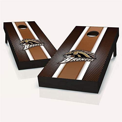 Western Michigan Broncos ストライプコーンホールボード - サイズとアクセサリーをお選びください - ボード2枚、チームロゴバッグ8枚など