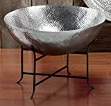 KINDWER Massive Hammered Aluminum Bowl and Stand, 2-Feet