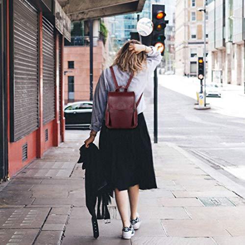 College Femme Vin Sac Mode Élégant Rouge à Casual Imperméable Rabat à avec Vin Sac Kasgo Cuir PU Rouge Réglables dos dos Daypack Sac Dames pour Fille à Bretelles Dos wtdqpfZWP